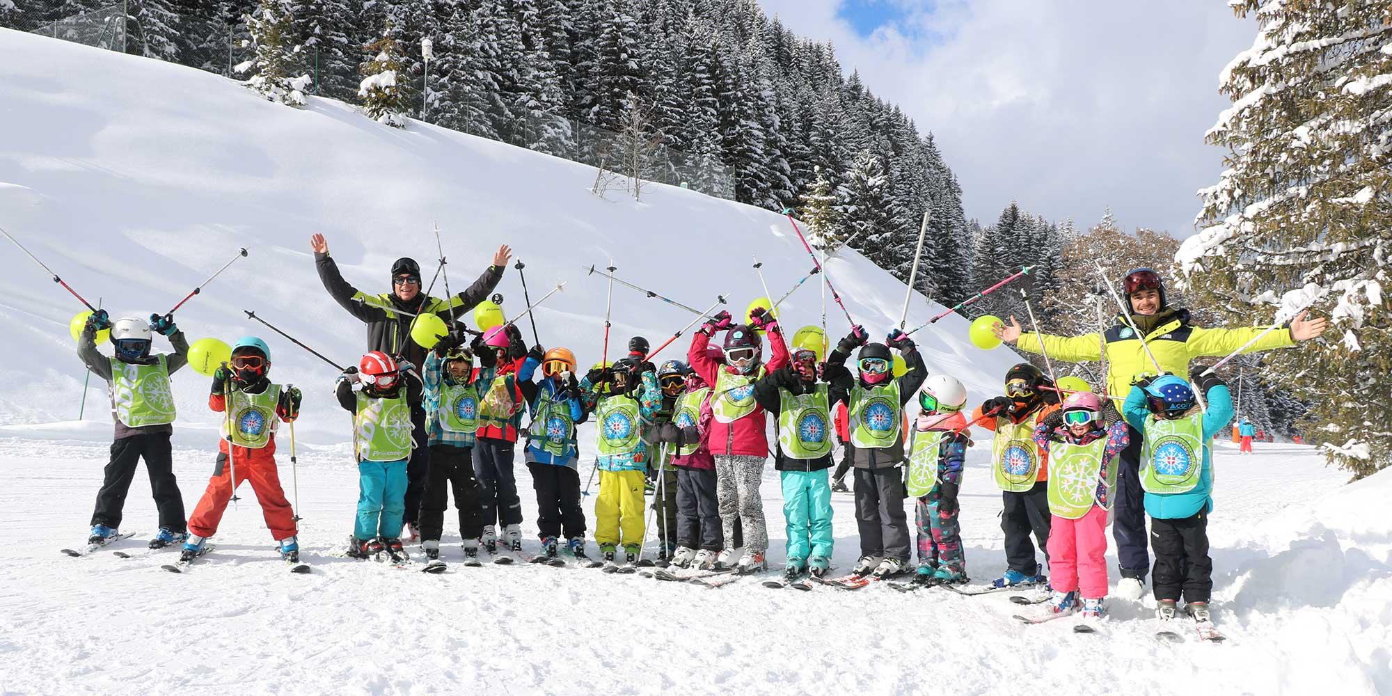 cours collectif ski enfant en groupe