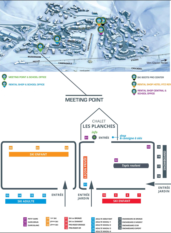 Plan école de ski -Val-Thorens