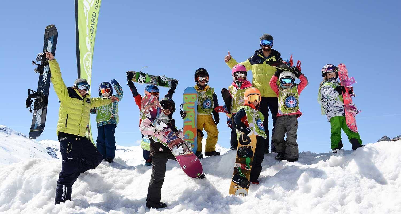 cours collectifs de snowboard pour enfants Prosneige
